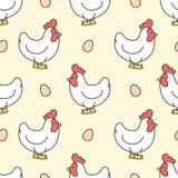 Fondo inconsútil del modelo de la gallina y del huevo ilustración del vector