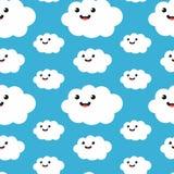 Fondo inconsútil del modelo de la nube divertida de la historieta Imagen de archivo libre de regalías