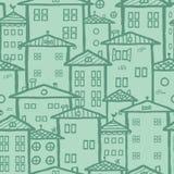 Fondo inconsútil del modelo de las casas de ciudad del garabato Foto de archivo libre de regalías
