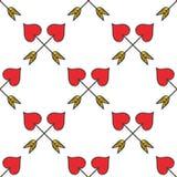 Fondo inconsútil del modelo de las flechas del cupido en forma de corazón cruzado Foto de archivo libre de regalías