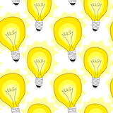 Fondo inconsútil del modelo de las lámparas de la bombilla Fotografía de archivo libre de regalías