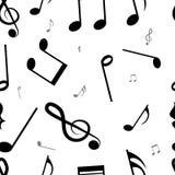 Fondo inconsútil del modelo de las notas musicales Imagen de archivo