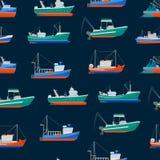 Fondo inconsútil del modelo de los barcos de pesca de la historieta Vector stock de ilustración