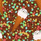 Fondo inconsútil del modelo de los conos de helado con los caramelos y el chocolate Imagenes de archivo
