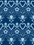 Fondo inconsútil del modelo de los corazones de tarjetas del día de San Valentín del ornamento retro del día Fotos de archivo
