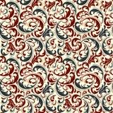 Fondo inconsútil del modelo del damasco Ornamento pasado de moda de lujo clásico del damasco, textura inconsútil del victorian re stock de ilustración