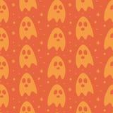 Fondo inconsútil del modelo del diseño de la historieta de los fantasmas planos de Halloween Imagen de archivo