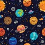Fondo inconsútil del modelo del espacio con los planetas, las estrellas y los cometas stock de ilustración