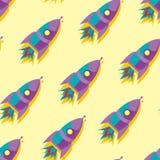Fondo inconsútil del modelo del espacio lindo y colorido con los cohetes Amarillo, azul y púrpura libre illustration