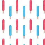 Fondo inconsútil del modelo del palillo del helado del color azul y rojo Fotos de archivo