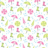 Fondo inconsútil del modelo del paraguas y de la lluvia Fotos de archivo libres de regalías
