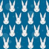 Fondo inconsútil del modelo del retrato del conejo de la historieta Imagen de archivo