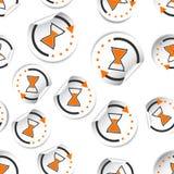 Fondo inconsútil del modelo del icono de la etiqueta engomada del tiempo del reloj de arena Negocios ilustración del vector
