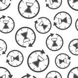 Fondo inconsútil del modelo del icono del tiempo del reloj de arena Negocio v plano stock de ilustración