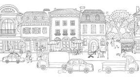 Fondo inconsútil del modelo Ilustración del vector Calle urbana en la ciudad europea histórica El caminar de la gente