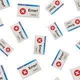 Fondo inconsútil del modelo del mensaje de advertencia del error Negocio plano Imagen de archivo libre de regalías