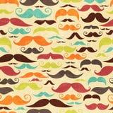 Fondo inconsútil del moustashe en estilo del vintage Imagen de archivo