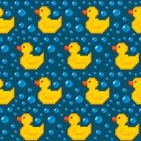 Fondo inconsútil del pato de goma del pixel Imágenes de archivo libres de regalías