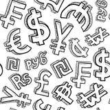 Fondo inconsútil del símbolo de dinero en circulación Imágenes de archivo libres de regalías