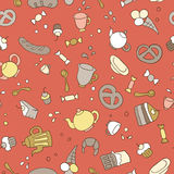 Fondo inconsútil del té y de los dulces Libre Illustration