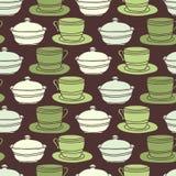 Fondo inconsútil del tazón de fuente de la taza, del platillo y de azúcar Imagenes de archivo