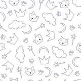 Fondo inconsútil del tema de la noche con los gatos y las coronas Imagen de archivo
