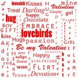 Fondo inconsútil del texto de las tarjetas del día de San Valentín imagen de archivo
