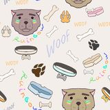 Fondo inconsútil del vector abstracto con un perro para la decoración stock de ilustración