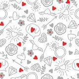 Fondo inconsútil del vector con los corazones, flechas, rizos, flores, amor ejemplo para la tela, el papel scrapbooking y otro Fotografía de archivo