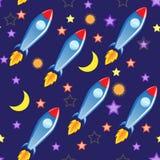 Fondo inconsútil del vector Espacio y misiles Foto de archivo libre de regalías