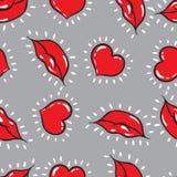 Fondo inconsútil del vector labios e impresión de los corazones Foto de archivo