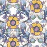 Fondo inconsútil del vector Ornamento floral fantástico hermoso de la frontera delicado Imagen de archivo libre de regalías