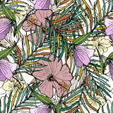 Fondo inconsútil dibujado mano con las hojas de palma y las flores Fotografía de archivo