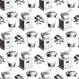 Fondo inconsútil dibujado mano del modelo de la producción del café libre illustration