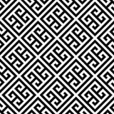 Fondo inconsútil dominante griego del modelo en blanco y negro Vintage y diseño ornamental abstracto retro Plano simple ilustración del vector