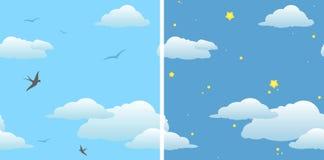 Fondo inconsútil dos - cielo y cielo nocturno del día stock de ilustración