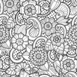 Fondo inconsútil en vector con garabatos, las flores y Paisley stock de ilustración
