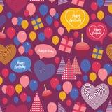 Fondo inconsútil - feliz cumpleaños Corazón, regalo Imagen de archivo