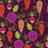 Fondo inconsútil feliz del modelo de las verduras de raíz Foto de archivo