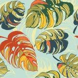 Fondo inconsútil floral del modelo de la selva tropical con la palma le stock de ilustración