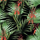 Fondo inconsútil hermoso del estampado de flores con las hojas de palma brillantes tropicales y las flores anaranjadas exóticas ilustración del vector