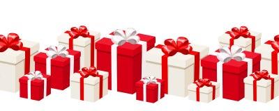 Fondo inconsútil horizontal con las cajas de regalo blancas y rojas Ilustración del vector Imágenes de archivo libres de regalías