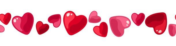 Fondo inconsútil horizontal con los corazones. Fotografía de archivo libre de regalías