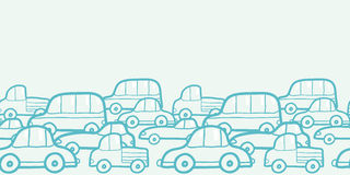 Fondo inconsútil horizontal del modelo de los coches del garabato Imagen de archivo libre de regalías