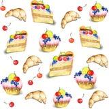 Fondo inconsútil. Ilustraciones de la torta. stock de ilustración