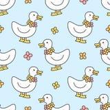 Fondo inconsútil lindo del modelo del pato y del collar de las flores libre illustration