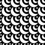Fondo inconsútil monocromático de las lunas y de las estrellas Fotos de archivo
