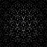 Fondo inconsútil negro del ornamento - wallpaper con la flor, coronan, protagonizan, hojean Imágenes de archivo libres de regalías