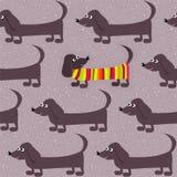 Fondo inconsútil - paseo del invierno del perro basset ilustración del vector