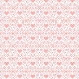 Fondo inconsútil rosado del arte popular de los corazones de la tarjeta del día de San Valentín Foto de archivo